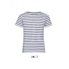 Дитяча футболка з круглим коміром в смужку SOL'S MILES KIDS білий/темно-синій