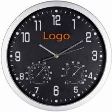 Часы с термометром и гигрометром черный