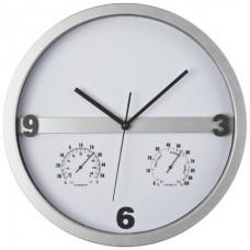Часы с термометром и гигрометром серый