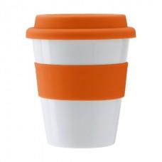 Пластиковий стакан з силіконовою кришкою, 350 мл помаранчевий