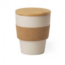 Бамбуковий стакан з кришкою, 350 мл бежевий