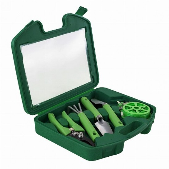 Портативний набір садових інструментів GARDENIA 5 в 1, в кейсі зелений