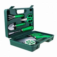 Портативний набір садових інструментів GARDENIA PRO 7в1, в кейсі зелений