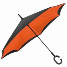 Зонт-трость с обратным складыванием оранжевый