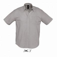 Сорочка з тканини «Оксфорд» SOL'S BRISBANE сріблястий