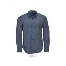 Сорочка чоловіча з попліну меланж з довгим рукавом SOL'S BARNET MEN синій-джинс