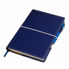 Блокнот BUSINESS А5, 140х220 мм, тверда обкладинка, в лінію, 256 сторінок, гумка-фіксатор синій